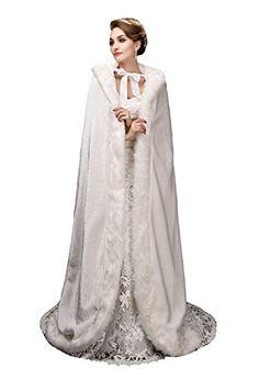 Noriviiq Womens Long Ivory Faux Fur Wedding Cloak Coat Jacket Bridal Wraps Cape US Size 24 * ** AMAZON BEST BUY **