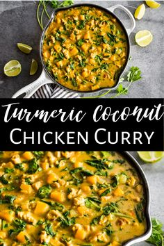 This Turmeric Chicken Coconut Curry is the perfect healthy dinner to make because everyone loves it! It's super easy to make, dairy free, gluten free, and paleo as well. It's made with simple Indian spices that give a subtle flavor that is hard to stop eating. It's packed with veggies and can be adapted to whatever season you're in. #turmeric #chickencurry #indiancurry #glutenfree #dairyfree #paleo