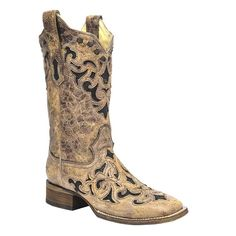Corral Ladies Stingray Inlay Wide Square Toe Boots