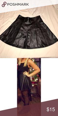 Socialite Black Leather High-Waisted Skirt Nordstrom Rack brand Socialite. Very flattering, barely worn black leather skirt! Zipper on side. Skirts Circle & Skater