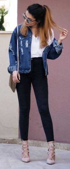 #casualoutfits #spring | Ripped denim Jacket + White Top + Black Denim |Melike'nin Stil Günlüğü