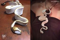 SNAKE COLLECTION A snake sculture on your neck, White ceramic and gold leaf. -  Una scultura-serpente sul vostro collo in ceramica bianca e foglia d'oro.