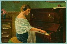 Woman playing piano. Le Piano, Playing Piano, Woman Painting, Art Pictures, Poster Prints, Fine Art, Beautiful, Royal Mail, A3