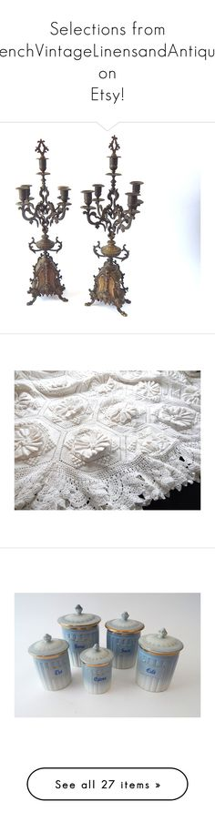 """Selections from FrenchVintageLinensandAntiques on Etsy!"" by vintagefrenchlinens ❤ liked on Polyvore featuring home, home decor, bronze home decor, bed & bath, bedding, quilts, patterned coverlets, patterned bedding, kitchen & dining and food storage containers"