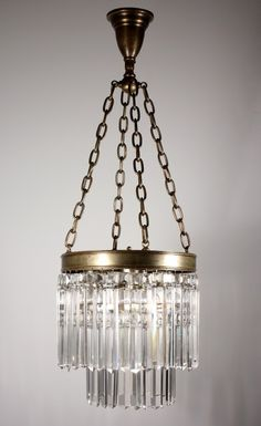 Stunning Antique Two-Tiered Chandelier with Cut Crystal Prisms, 19th Century