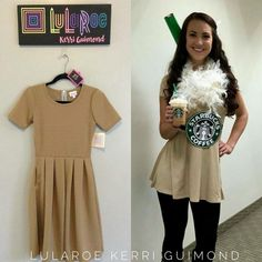 Love this Amelia dress as a Starbucks frappe. Halloween Costumes Glasses, Cute Halloween Makeup, Diy Halloween Costumes For Women, Halloween Ideas, Halloween Party, Disney Halloween, Starbucks Halloween Costume, Halloween Lularoe, Amelia Dress