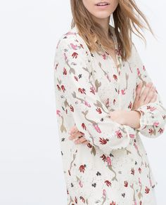 Image 3 of PRINTED SHIRT-STYLE BLOUSE from Zara