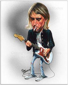 Kurt Cobain Celebrity Caricature Art Print Don Howard by DonHowardStudios on Etsy