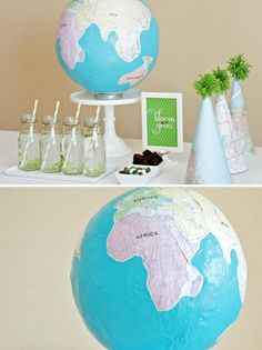 sing papier-mâché to create a globe is a fun, hands-on project. To begin, you'll need a round balloon (we used a punching ball purchased at a local party store), recycled newspaper torn into strips, water and flour=pinata for party. Old map party hats Globe Projects, Globe Crafts, Fun Projects, Earth Day Activities, Activities For Kids, Earth Day Crafts, Travel Party, Paper Plate Crafts, Thinking Day