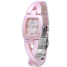 Pink Stylish Slim Rectangular Ceramic Women Watches