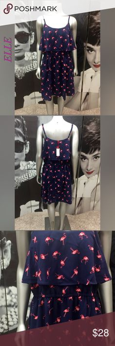 NWT!! Elle Flamingo Dress NWT!! Adorable Navy Blue with Pink Flamingo ELLE Dress Roth Adjustable Straps!! 100% Polyester Elle Dresses