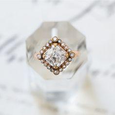 Claire Pettibone Couture // Byzantine rose gold Cushion Cut diamond ring