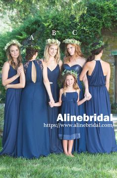 Mismatched Navy Blue Chiffon A-line Country Wedding Bridesmaid Dresses. AB1205