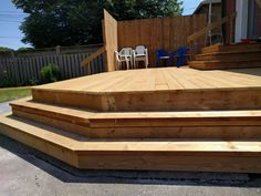 wood deck designed with step-down surround Wood Deck Designs, Small Towns, Construction, Outdoor Decor, Beautiful, Home Decor, Building, Decoration Home, Room Decor