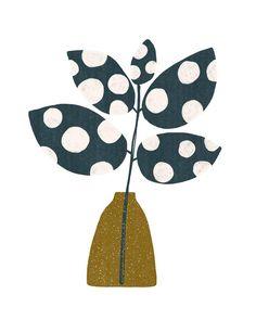 Simple Illustration, Plant Illustration, Polka Dot Art, Polka Dots, Simple Collage, Collage Art, Floral Drawing, Simple Prints, Plant Art