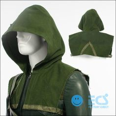 DC Green Arrow Oliver Queen Cosplay Costume Outfit Halloween Green Hood Only | eBay