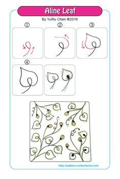 Aline Leaf Tangle, Zentangle Pattern by Yuru Chen Tangle Doodle, Tangle Art, Zen Doodle, Doodle Art, Zentangle Drawings, Doodles Zentangles, Doodle Drawings, Doodle Patterns, Zentangle Patterns