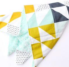 Cheater Quilt Geometric Faux Fur Baby Blanket  Instagram: @loveandlullabies