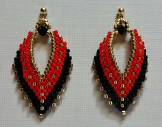Russian Leaf Earrings in red black and gold by BeadAndBowtique