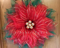 Deco Mesh Flower Wreath, Summer Wreath, Spring Wreath, Front Door Wreath, with Faux Green and Pink Gems in the Center by A Noble Touch Christmas Mesh Wreaths, Deco Mesh Wreaths, Door Wreaths, Winter Wreaths, Wreath Crafts, Diy Wreath, Christmas Crafts, Wreath Making, Ribbon Crafts