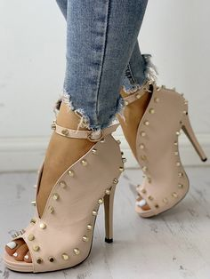 Rivet Embellished Hollow Out Buckle Peep Toe Pumps Without the Rivets they would be nice Like the style Hot Shoes, Crazy Shoes, Me Too Shoes, Shoes Men, Heeled Boots, Bootie Boots, Shoe Boots, Heeled Sandals, Shoes Sandals