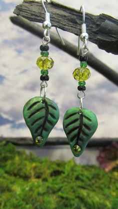Magical Fairy Leaf Earrings by dragonsdreamsdesigns on Etsy