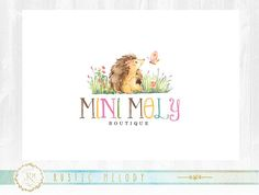 Hedgehog logo, boutique logo ,baby logo ,children logo, premade logo, photography logo, party logo, watercolor logo,decor logo
