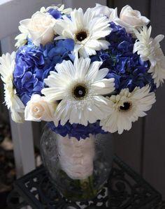 Blue Tinted Gerber Daisy, wedding bouquet | 35 Gorgeous Blue Bouquets