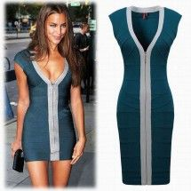Plunging Neckline Sleeveless Elastic Knitted front Zipper Sexy short bodycon Bandage Dress