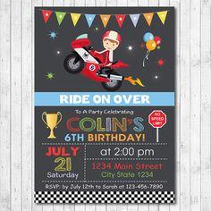 Motorcycle Racing Birthday Invitation, Bike Invitation , Moto Invite, Moto race Invite, Digital Printable Invitation by funkymushrooms on Etsy https://www.etsy.com/listing/155852372/motorcycle-racing-birthday-invitation