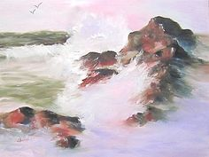 OIl Print 'Ocean Sunrise' Seascape pink green by JanetLongArts,