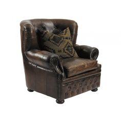 Vintage Chesterfield fåtölj hög brun