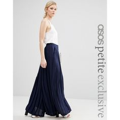 ASOS PETITE Pleated Wide Leg Pant ($36) ❤ liked on Polyvore featuring pants, navy, petite, high waist short pants, high waisted pleated pants, petite pants, asos and high-waisted wide leg pants