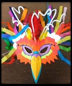We love how this librarian used all the odds and ends in her craft supply closet to make amazing animal masks. Carnival Crafts, Carnival Masks, Vbs Crafts, Crafts For Kids, Carnival Of The Animals, Costume Carnaval, Brazil Carnival, Bird Masks, Mask For Kids
