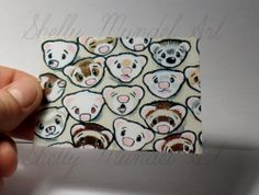 """ACEO Ferret Print """"One Million Faces 3"""" Shelly Mundel Art NEW!!"""