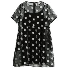 Organza Embroidered Polka Smock Dress Black (€80) ❤ liked on Polyvore featuring dresses, embroidered dress, smocked dresses, broderie dress, embroidery dresses and organza dress