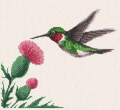 Hummingbird cross stitch pattern.