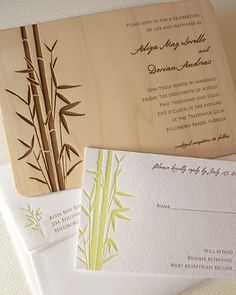Bamboo papercut wedding invite and rsvp papercraft ideas bamboo wedding invitation set by oslopress via flickr stopboris Images