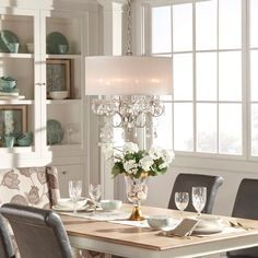 Tribecca Home Silver Mist Hanging Crystal Drum Shade Chandelier (Silver Mist Table Chandelier) (Metal)