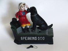 Antique Cast Iron Mechanical Bank Speaking by MidnightandMagnolias, $125.00
