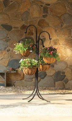 Mr Stacky 4 Tier Indoor Outdoor Metal Plant Stands - Tall Black Hanging Baskets Plant Holder - Sturdy Hangable Tree Stand for Herbs Strawberries Flowers Peppers Lanterns Lights or Other Plants and Accessories by Mr Stacky, http://www.amazon.com/dp/B00A43KCPQ/ref=cm_sw_r_pi_dp_PUSfrb1V68VHW