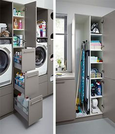 Modern Laundry Rooms, Laundry Room Design, Kitchen Design, Kitchen Storage Units, Pantry Storage, Carriage House Apartments, Utility Room Storage, Drying Room, Laundry Solutions
