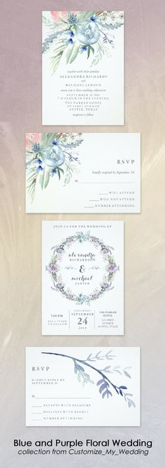 Elegant watercolor flowers blue and purple botanical wedding invitation suite from Customize_My_Wedding   see the full stationery collection at Zazzle