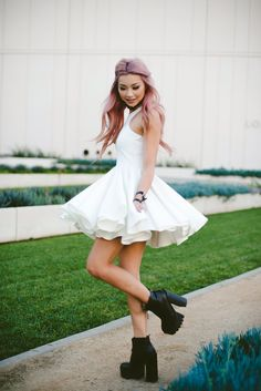 Francis Lola in our Spin Me Round Cream Dress. Shop it here: http://www.ohmylovelondon.com/spin-me-round-full-skater-dress-with-racer-detail-cream