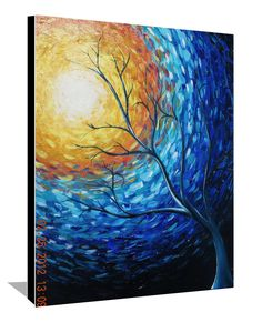 Blue Painting Yellow Sun Tree Painting Landscape Painting Large Original Painting Abstract Painting Stretched Canvas Modern Art 30x24 By DAY. $250.00, via Etsy.