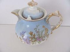 Antique Limoges Pitcher / Syrup Pitcher Hand Painted Floral Gold Raised Enamel