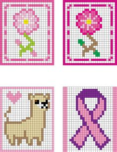 "LLAMA LOVE! Flowers and Pink Ribbon.... Some more patterns I did up for crochet 2"" granny square afghan rug ideas... 60x50in"