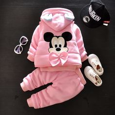 54.00$  Watch now - http://alim7z.worldwells.pw/go.php?t=32760749380 - Thickened Girls Winter Clothes Sets Cute Mickey Toddler Cartoon Print Jacket Vest Casual Trousers Sport Suit 54.00$