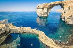 MALTA – Azure Window pre-2017, Gozo Island. On 8 March 2017 after a period of heavy storms the arch completely collapsed. https://www.google.ca/maps/place/Azure+Window/@36.0527972,14.187849,17z/data=!4m5!3m4!1s0x130fb683692fa4ed:0xa6569418747bc7a1!8m2!3d36.0535258!4d14.1882246