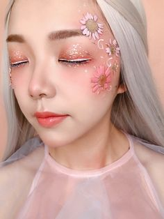 Flower Children Makeup Kit (New Styles In Stock) - Kamakula Flower Makeup, Fairy Makeup, Mermaid Makeup, Fairy Fantasy Makeup, Rave Makeup, Makeup Kit, Beauty Makeup, Makeup Stickers, Spring Look
